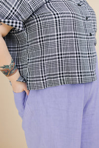 Boxy Collared Shirt in Black Plaid