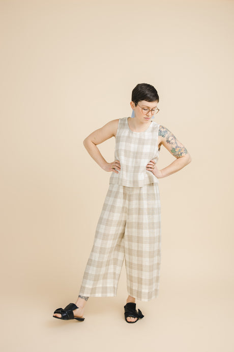 Easy Pant in Tan Plaid Linen