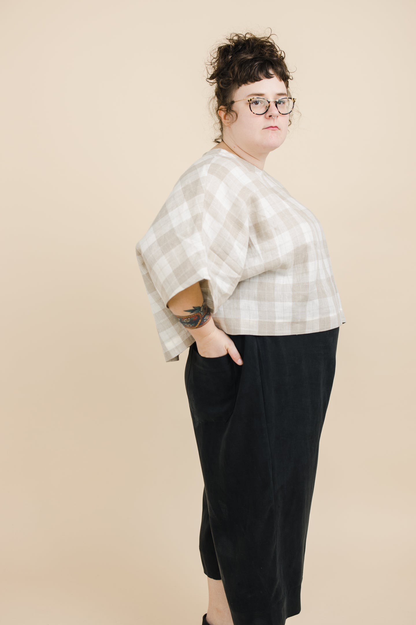 Super Wide Crop Top In Tan Plaid Linen