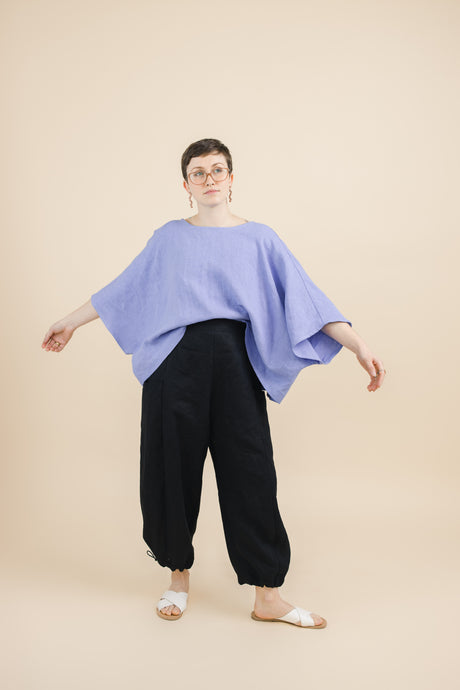 Super Wide Crop Top In Periwinkle Linen