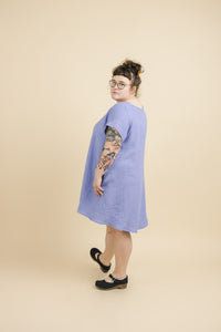 Trapeze Dress in Periwinkle Linen