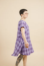 Trapeze Dress in Purple Plaid