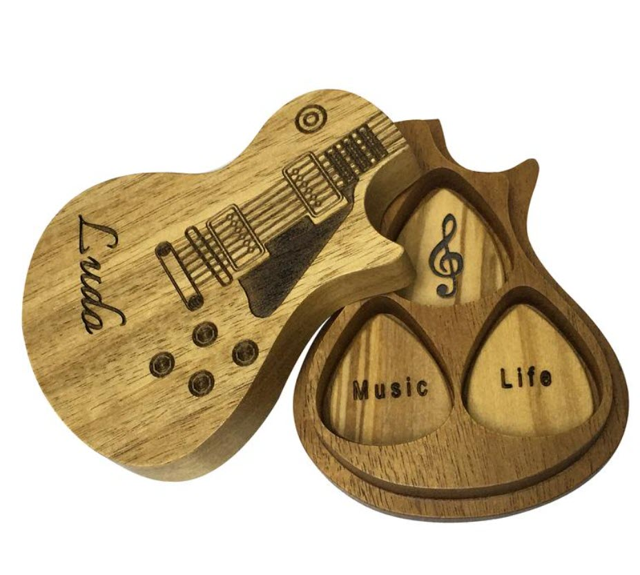 Personalized Wooden Guitar Picks with Case