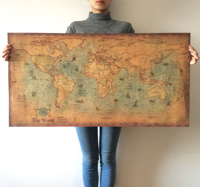 Antique Style Nautical World Map Poster