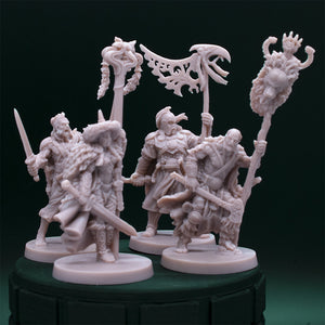 NPC Characters - Four - Male Banner Bearers - Clerics - Dungeons & Dragons - Unpainted Miniature