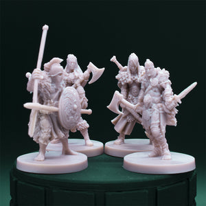 NPC Characters - Four - Female Warriors - Male Spearman - Dungeons and Dragons - Unpainted Miniatures