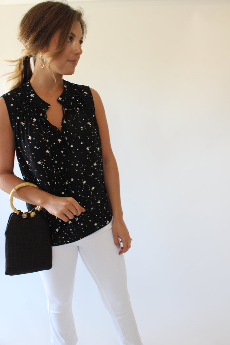 Star Print Sleeveless Top