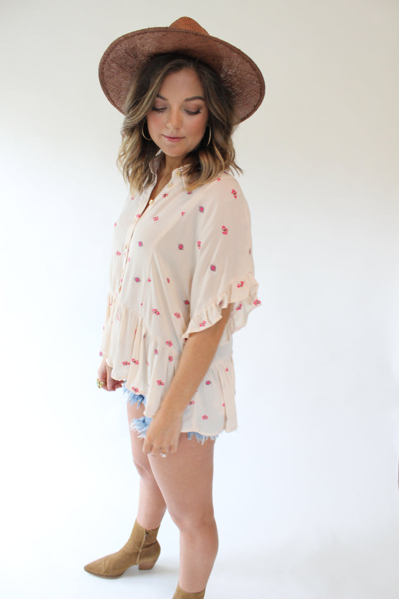 Kelly Embroidered Button Up Top