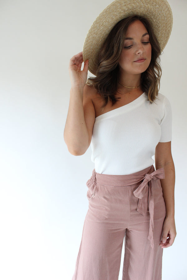Whitland Ribbed One Shoulder Top