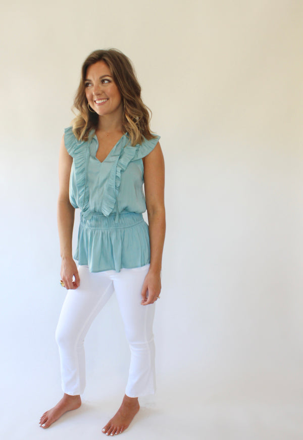 Aquamarine Smocked Waist Top