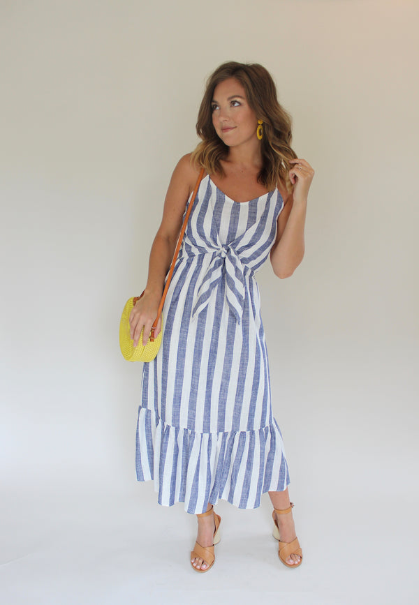 Bicycling for Two Striped Midi Dress