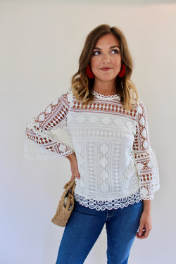 Bell Lace Sleeve Top