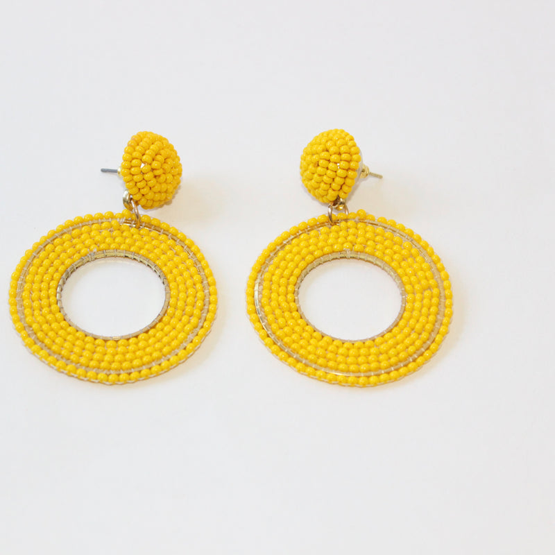 Yellow Circle Bead Statement Earring