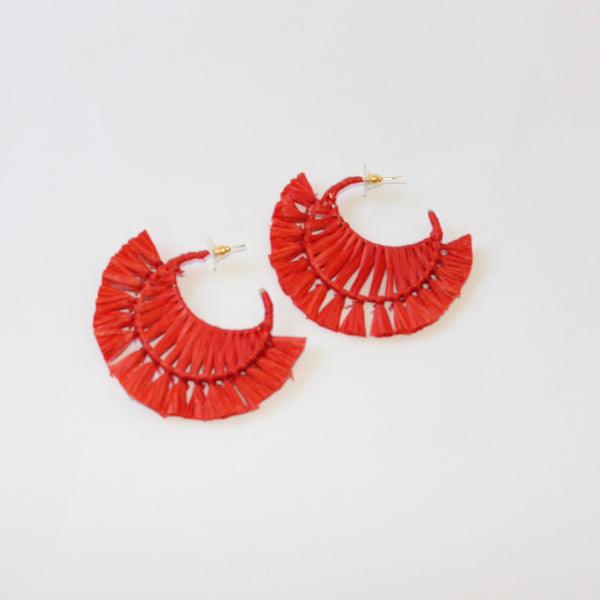 Large Hoop Rafia Statement Earring