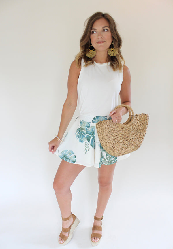 Somewhere Tropical Print Swing Shorts