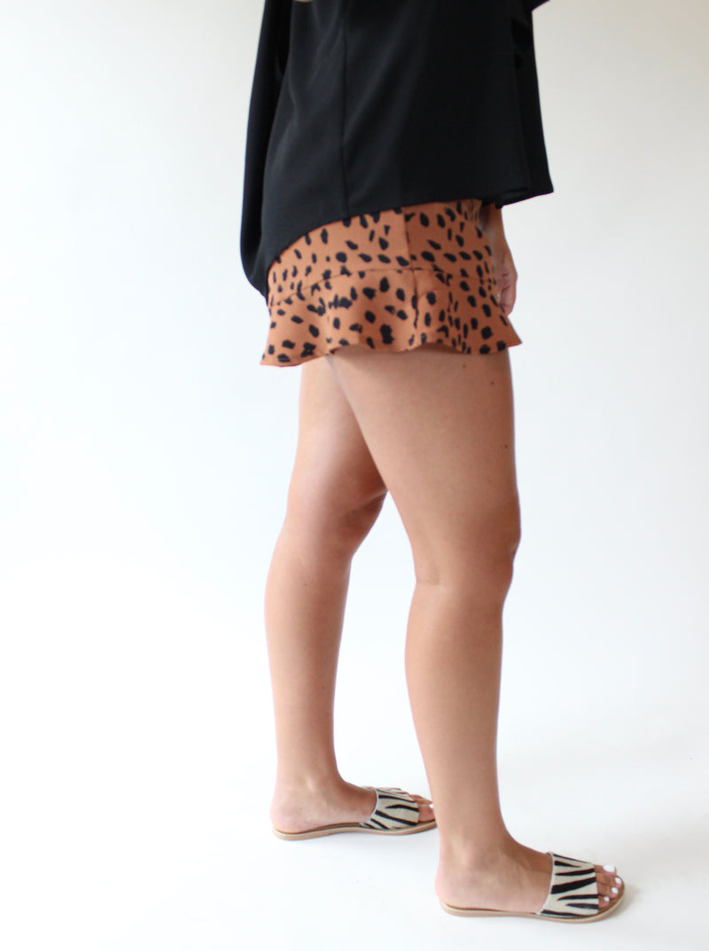 Ruffle Hem Animal Print Short