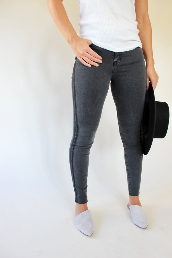 High Rise Side Stripe Skinny Denim