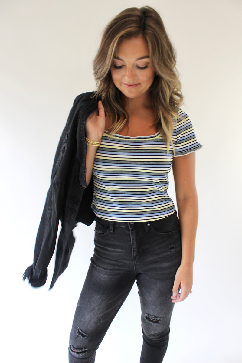 Be Right Back Striped Top
