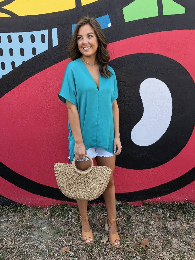 Solid V-Neck Tunic