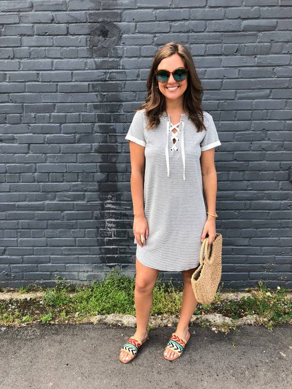 Short Sleeve Lace Up Tee Dress