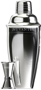 Nuvantee Cocktail Shaker - Premium Bar Set w/Free Jigger & Recipes(e-Book) 24oz w/Built-in Strainer