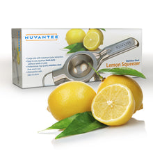 Load image into Gallery viewer, Nuvantee Lemon Squeezer - Quality 18/10 Stainless Steel Manual Citrus Press With Lemon Recipes Ebook