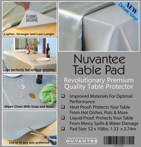 Nuvantee Revolutionary Table Pad - Protects Table from Spills and Heat - 52 X 108 Inch Premium Table Protector - Flannel Backing, Lies Flat
