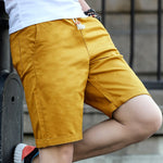 2018 Brand New Men's Casual Shorts cotton Short Pants For Men Pure Color Drawstring Knee Length Beach Short Slacks Size 5XL
