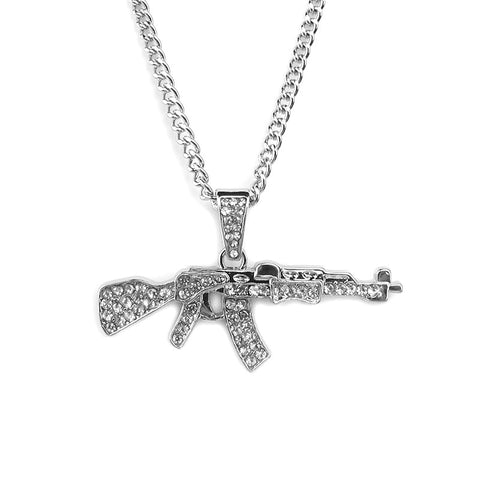 2018 New Alloy AK47 Gun Pendant Necklace Iced Out Rhinestone With Hip Hop Miami Cuban Chain Gold Silver Color Men Women Jewelry