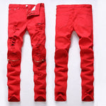 2019 new fashion high street men's jeans zipper knee knocked ragged hole male club denim fabric elastic skinny ripped trousers