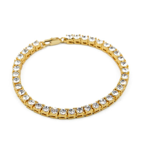 "Bling Iced Out 1 Row Rhinestones Bracelets Hip Hop Crystal Jewelry Gifts Women Men  Golden Simulated Stone 8"" Chains"