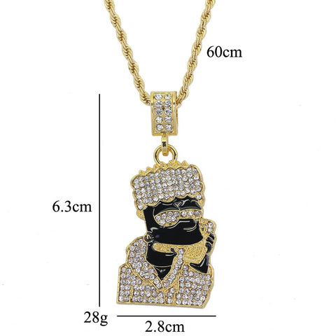 Full Iced Out Quavo Choker Rhinestone Wrapped Alloy Cartoon Figure Pendent Hip Hop Necklace Fashion Jewelry Gift for Christmas