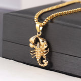 Gold Color Animal Scorpion Pendant Necklaces For Men Long Link Chain Necklace Male Hip Hop Rock Jewelry Gift Shellhard