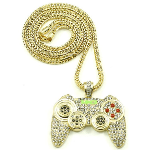 Hip Hop Game Machine Handle Necklace Pendant Mens Full Crystal Long Chain Necklace Fashion Game Controller Necklace Jewelry