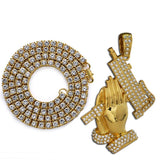 Hip Hop Jewelry Gifts Golden Bling 1Row Rhinestone Stone  Jesus Necklaces Pendants Women Men Praying Buddha Hands Chains
