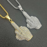 Hip Hop Men Women Gold Color Plated With Full AAA+ zircon Big Middle Finger Pendants Necklaces Bling Chains Vogue Jewelry