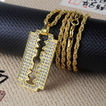 New Full Rhinestone Uzi Gun Cross Pendant Necklaces Long Cuban Link Chain Fashion Necklace For Unisex Hip Hop Jewelry