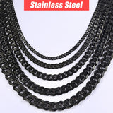 "Personalized Men's Necklace Stainless Steel Cuban Link Chain Black Silver Gold Necklaces For Men 18-36"" Hip Hop Jewelry KNM09 1 2"