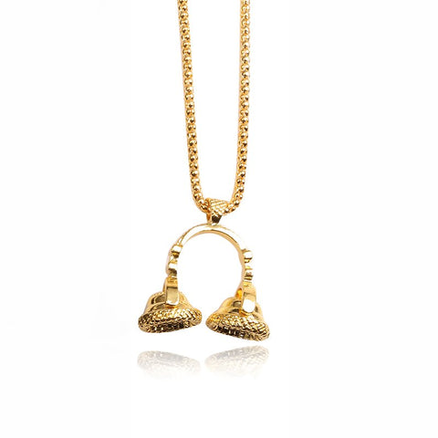 SG HIP Hop Gold Color Ice Out Bling Music Stereoscopic Microphone Pendants Necklaces For Men Women Jewelry
