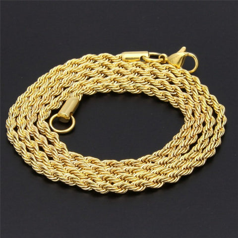 "UWIN Men Women Hip Hop Rapper's Chain 3mm 18'' 20"" 24"" 30"" Stainless steel Gold Color Rope Link Necklace Fashion Hip hop Jewelry"