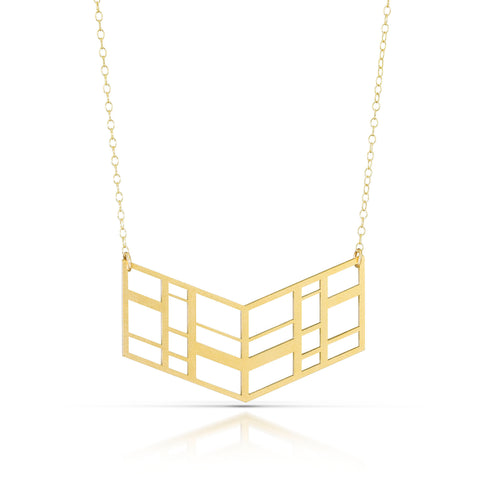 chevron necklace, 18k gold-plated