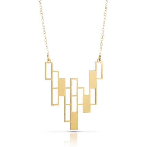 cascade  necklace, 18k gold-plated