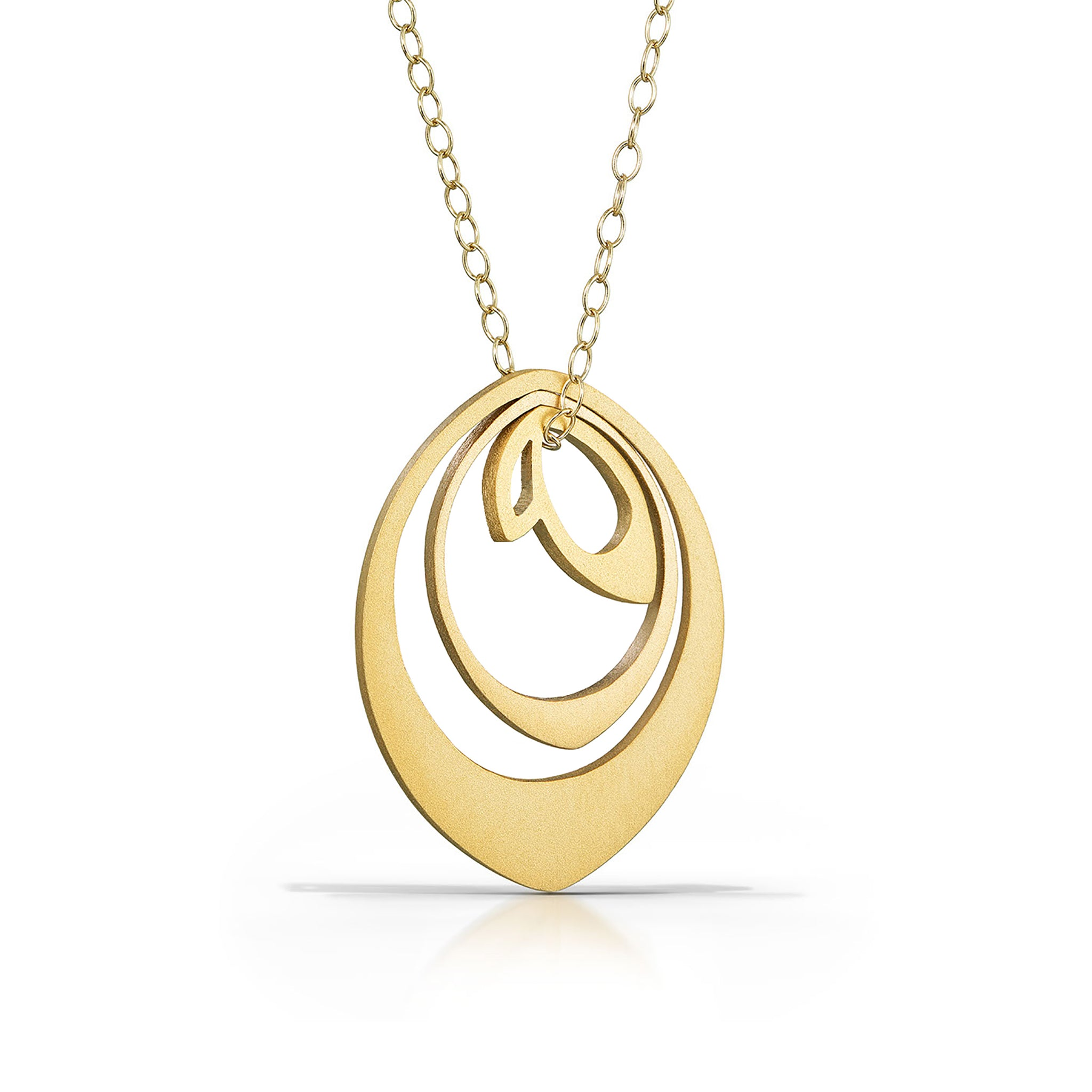 nesting bud necklace, 18k gold-plated