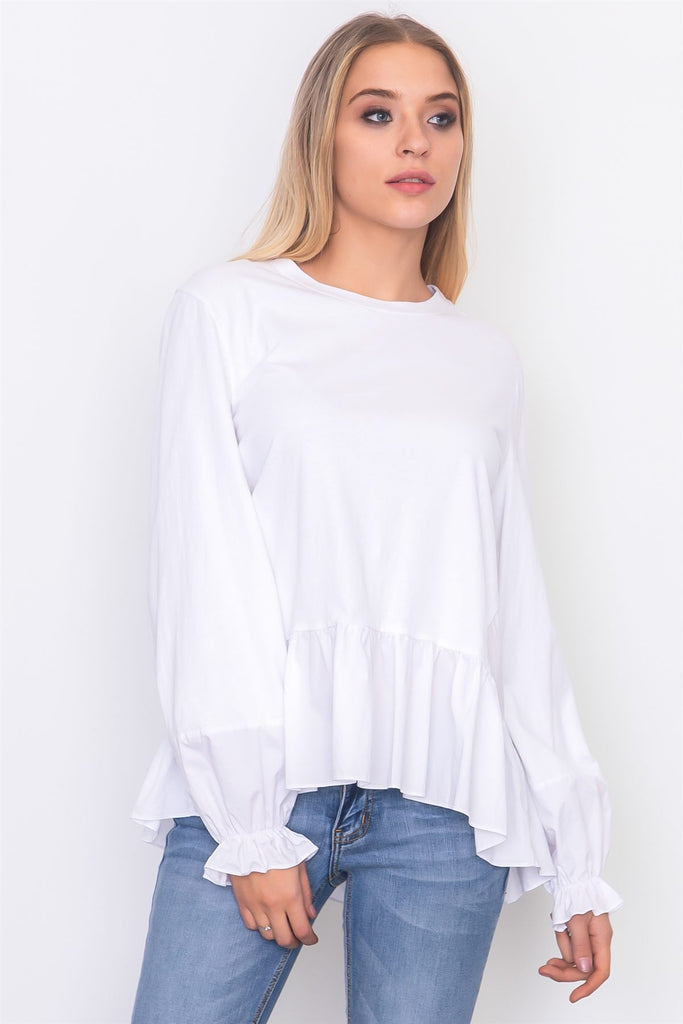 0badae0184c Contrast Woven Ruffle & Sleeve Top (Only size S left) – Urban Gift Box