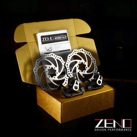 Alloy Mechanical ZENO Speed Clip Road Dual Piston Mechanical Disc Brake Set, Post Mount, 160mm Rotor Include