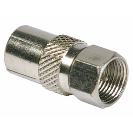 F Plug To Coax Socket – Nickel