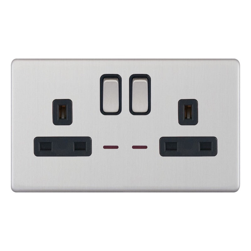 2 Gang Switched DP with Neons -13 Amp Socket Outlets 5M-Plus