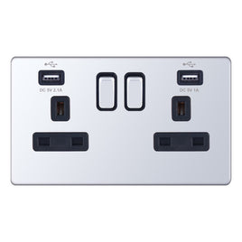 2 Gang Switched with 2 x USB Ports -13 Amp USB Socket Outlets 5M-Plus