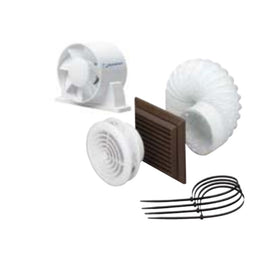 Standard Duct Fan and Ceiling Kit Chrome (105m³/h)