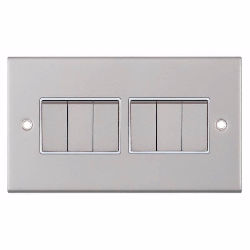 6 Gang 2 Way - X-Rated 10 Amp 5M Plate Switches